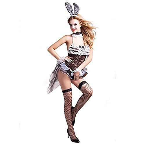 Komplettes Outfit Damen 7 Stück Sexy Playboy / Bunny Kostüm Größe 38-40 Kleid Ohren Strümpfe Bündchen Krawatte