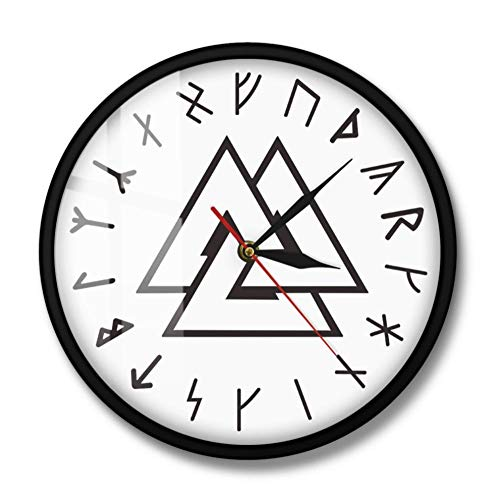 AnnQing Viking Symbol Runes Script Moderne Wanduhr Viking Norse Compass Vikings Rune Odins einfache Wanduhr Home Decor-with Led