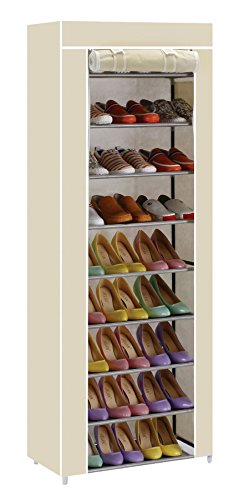 Vinsani 9 Tier Canvas Shoe Rack Standing Storage Organiser Rack - C