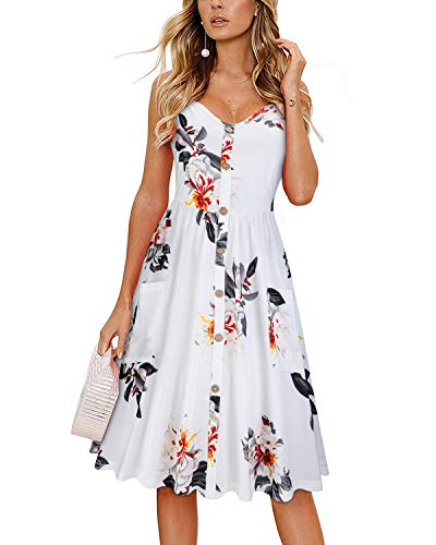 KILIG Women's Summer Floral Dress Spaghetti Strap Button Down Sundress with Pockets(C1-Floral,Medium)