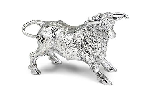 Figurine taureau en argent sterling poinçonné. Fabriqué en Angleterre