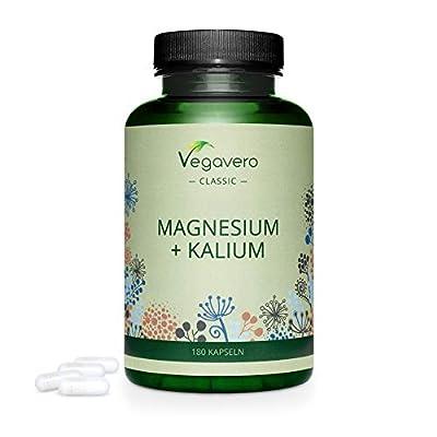 Magnesium Citrate + Potassium Citrate Complex Vegavero® | 225mg Magnesium + 500mg Potassium per Dosage | Muscles, Bones, Tiredness & Fatigue* | 180 Natural Capsules | 100% Vegan
