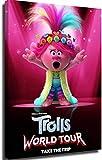 Póster de Trolls, animación, lienzo, póster decorativo para salón, niños, juego de imágenes para el hogar, con marco, 60 x 90 cm = 24 x 36 pulgadas