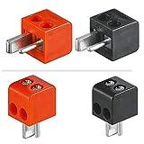 4X erenLine Lautsprecher- Mini DIN Stecker (alte DIN Norm); Set mit 2X rot + 2X schwarz; lötfrei; mit Schraubanschluss [LS-Stecker; Strich-Punkt Stecker;...