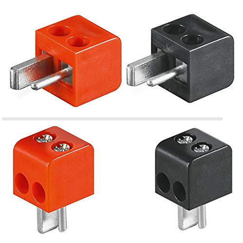 4X erenLine® Lautsprecher- Mini DIN Stecker (alte DIN Norm); Set mit 2X rot + 2X schwarz; lötfrei; mit Schraubanschluss [LS-Stecker; Strich-Punkt Stecker; Auto-/KFZ-Lautsprecher Stecker]