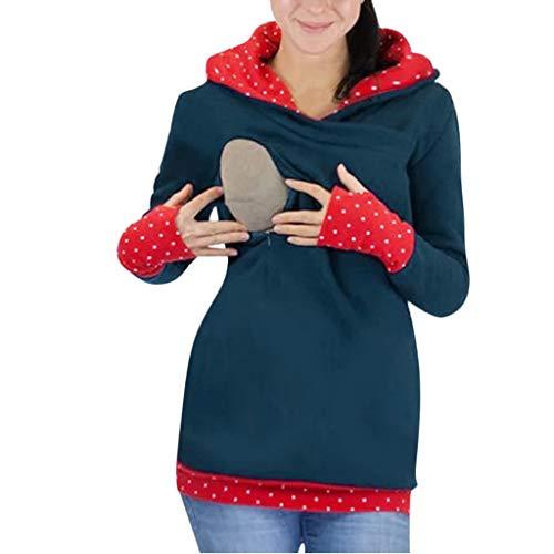 STRIR Sudadera de Lactancia Apertura de Cremallera con Capucha para Mujer Cuello...