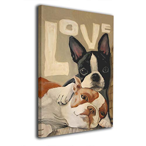 King Duck Boston Terrier Painted Framed Decorations Art Canvas Wall Office Home Decor Paintings Artwork for Living Room Bathroom Bedroom Stretched Ready to Hang