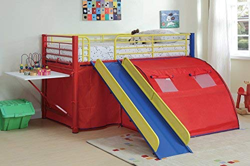 Coaster Bunk Bed with Slide and Tent, Multicolor
