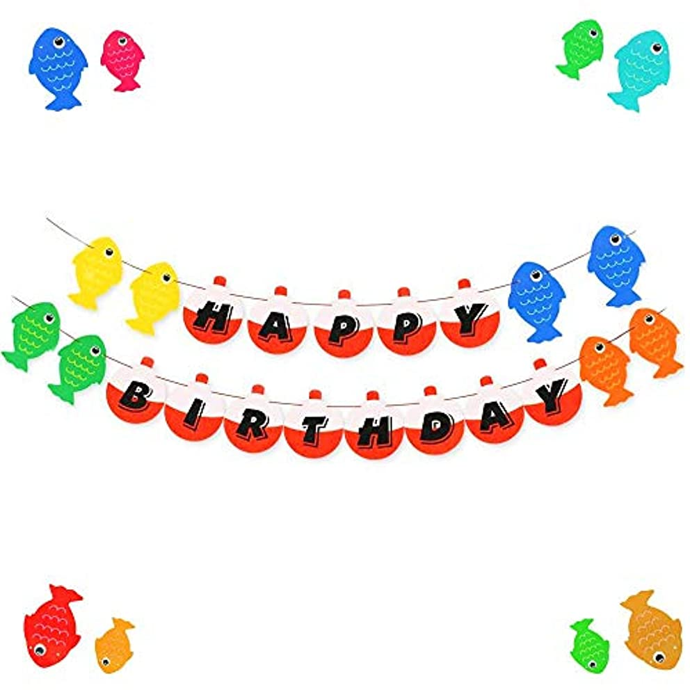 JeVenis Little Fisherman Banner Fish Robber Garland for Gone Fishing Party Supplies School Home Decorations