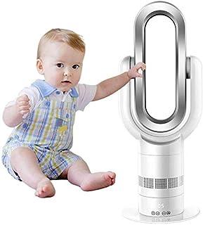 WUAZ Aspa Ventilador Calentador Calentador + Ventilador Frío Ventilador De Seguridad De Oscilación Vertical De 25 Pulgadas con Control Remoto Eficiente Temporización 10 Archivo Ajustable,Plata
