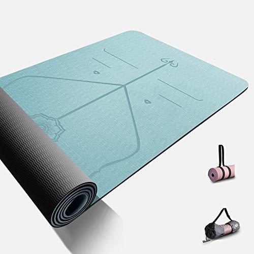 TPE Yogamatte, 80 cm breit, verdickt, verlängert, Fitnessmatte, Sportmatte, rutschfeste Matte, blau