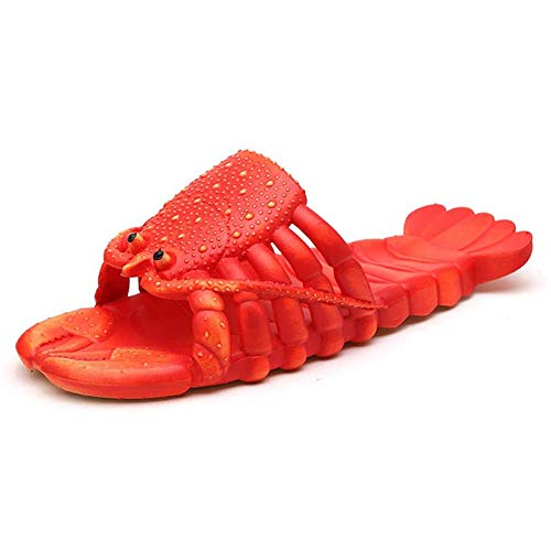 Lobster Slippers Grappige Slippers Dier Badslippers Ongedwongen Waterdicht Kreeft Slippers Non-Slip Strand Schoenen Dames Heren Kinderen,Red,24/25