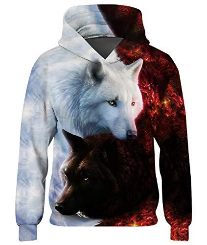 Loveternal Galaxy Wolf Kapuzenpullover 3D Druck Hoodie Long Sleeve Sweatshirt für Teenager Mädchen XXL