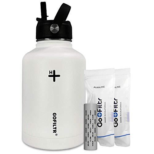 GoFiltr Kit de hidratación alcalina para botella de agua – Algodón   55 oz (1475 ml) Botella de agua de acero inoxidable con tapa de pajita + dos infusores minerales alcalinos originales GoFiltr