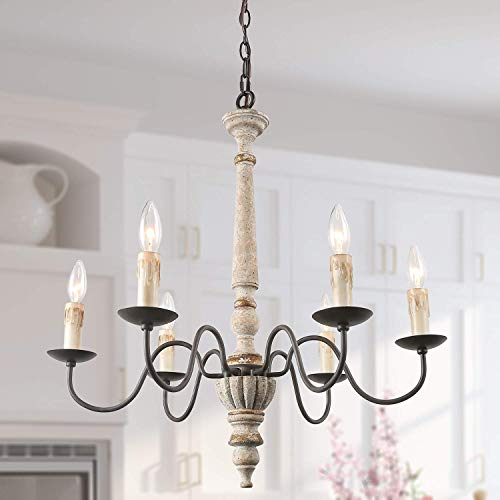 LALUZ Handmade Wood Chandelier, 6-Light French Country Chandelier for Bedroom, Living Room, Dining Room and Foyer, Rust Finish with Metal Arms