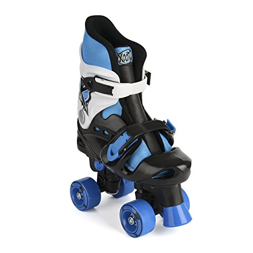 Xootz Quad Patines Ajustables y Acolchados para Niño, Niño, Quad Adjustable and Padded, Azul/Negro/Blanco