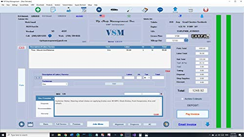 Invoice Software for Auto Repair shops: Vip Shop Management 3rd Generation