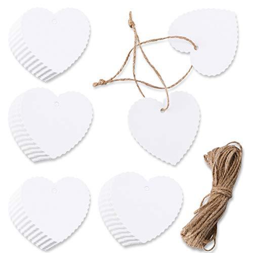 HOWAF 100 Stück Valentinstag Weiß Geschenkanhänger Etiketten Tags Label Papieranhänger Hängeetikettenund Jute Schnur 10M für Hochzeit Geschenke zum Basteln(Herz Kraftpapier Anhänger)
