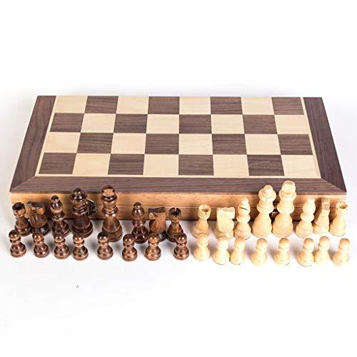 Ajedrez Conjunto de ajedrez, ajedrez, madera, juguetes educativos de tablero de ajedrez plegable, juegos de mesa de viaje magnéticos portátiles, regalo para amantes del ajedrez y aprendices para niños