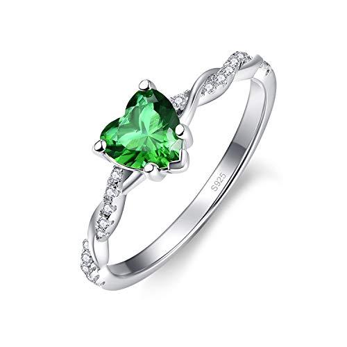 Bonlavie 925 Sterling Silber Verlobungsversprechen Ringe Herzschnitt Erstellt Grün Smaragd Ewigkeit Ehering für Frauen Größe 57(18.1)