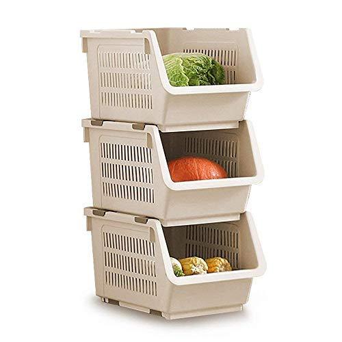 Cesta de apilamiento de almacenamiento Juego de 3 estantes de plástico apilable Rack de almacenamiento Apilamiento de la cesta apilable Grandes cestas de almacenamiento de apilamiento, Color Beige