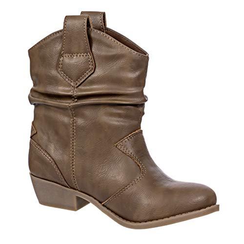 Smoky Mountain Girls Brown with Pink Stitch Monterey Western Cowboy Boots,3.5 M US Big Kid