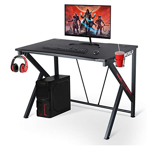 "Ergonomic Gaming Desk – 42"" K Shaped Computer Table for Home Office Gamer Workstation with 2 Headphone Hooks and Cable Management (Black)"