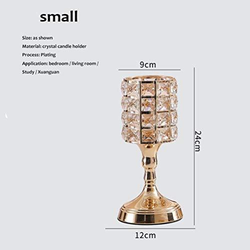 Thumby Home Decoratie Ambachten Desktop Ornament Europese Scandinavische Luxe Kristal Gouden Kaars Houder Model Kamer Thuis Romantische Eettafel Bruiloft Dessert Tafel Decoratie Trompet