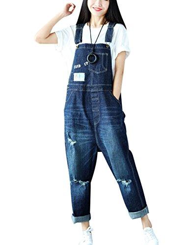 Youlee Damen Sommer Breites Bein Hose Denim Latzhose Overall Hosen Style 14