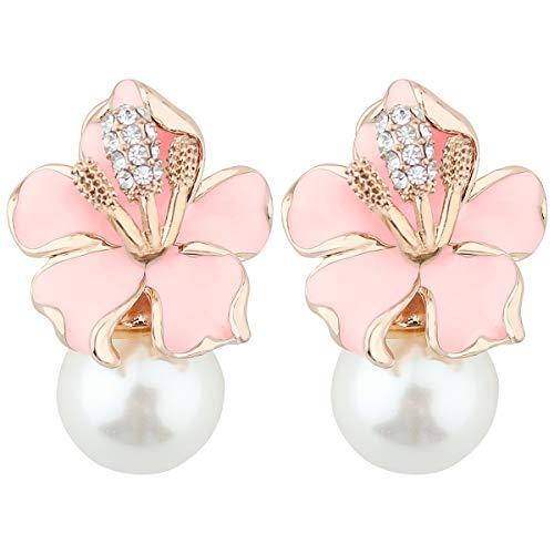 Mecool - Orecchini pendenti da donna, con perle finte e zirconi incastonati, a clip, colore: rosa