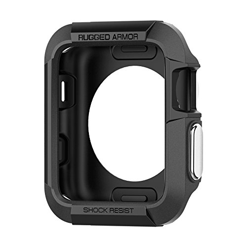 Spigen Rugged Armor Kompatibel mit Apple Watch Hülle für 42mm Serie 3 / Serie 2/1 / Original (2015) - Schwarz