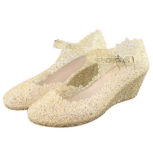 Gold Glitter Frauen Sommer Keil Sandalen Frauen Hohle Kunststoff Vogelnest Schuhe Frauen Farbe Diamant Low-Top Strandschuhe Zu Fuß Damenschuhe