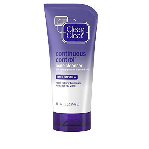 Clean & Clear Continuous Control Benzoyl Peroxide Acne Face Wash with 10% Benzoyl Peroxide Acne Treatment, Daily Facial Cleanser with Acne Medicine to Treat and Prevent Acne, For Acne-Prone Skin, 5 oz