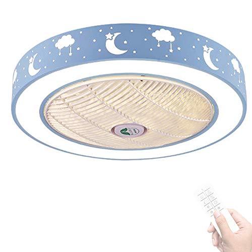 LED Invisible Ventilador De Techo Con Luz Y Mando A Distancia, Lámpara De Techo Con Iluminación Moderna Silenciosa Regulables Para Sala De Estar Dormitorio Habitación Infantil Color Opcional (Blue)