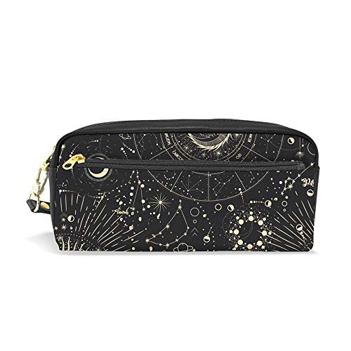 Kuizee Pencil Bag Pen Case PU Leather Moon Phases Sun Zodiac Mysterious Astrology office Students Zipper Stationery Pouch Bag 7.8 Inch