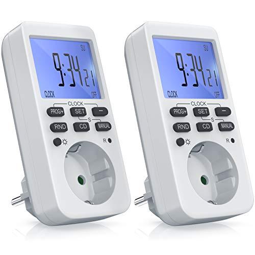 CSL - 2x Zeitschaltuhr digital - mit LCD-Display Beleuchtet - 10 konfigurierbare Programme - LED-Statusanzeige - Zufallsschaltung - 12 24h-Modus - Wochenzeitschaltuhr - 3680W