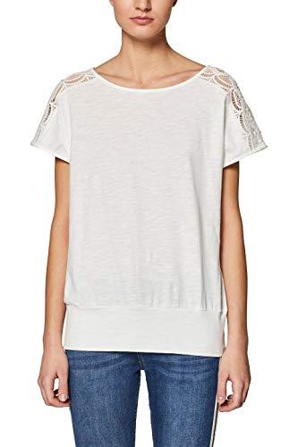 edc by ESPRIT Damen 039CC1K011 T-Shirt, Weiß (Off White 110), Medium (Herstellergröße: M)