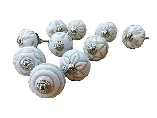 PUSHPACRAFTS - Pomelli in ceramica per armadio, cassetto, 20 pezzi, colore: Bianco/Crema
