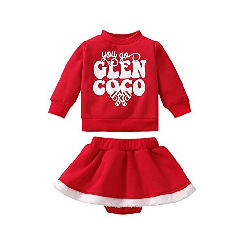Conjunto de 2 Piezas para Bebé Recién Nacido Suéter Navideño con Estampado de Letras + Falda con Volantes Decorativa Felpa 0-24 Meses (Rojo, 18-24 Meses)