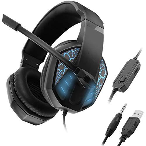 Yoging 7100 - Auriculares de juego profesionales estéreo con cable de 3,5 mm, con micrófono, para ordenador y PS4