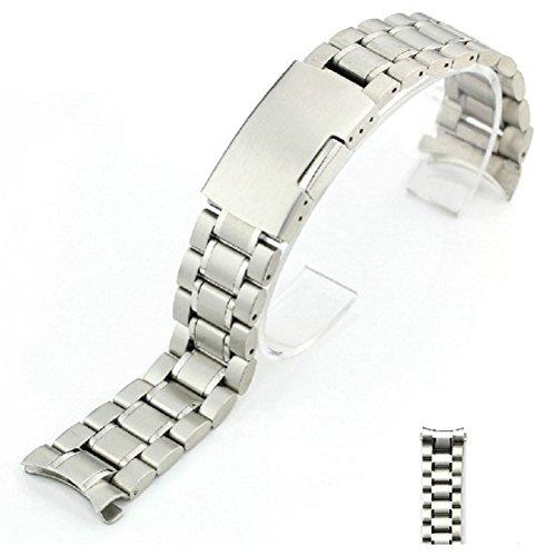 Pixnor 22mm curvato fine solido acciaio inossidabile Bracciale Watch Band Strap (argento)