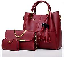 Envias Women's Handbag (Set of 3, Maroon)