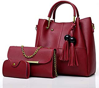 Envias Leatherette Handbags For Women's Ladies Combo Of 3 (PlusCombo_Maroon_EVS-109)