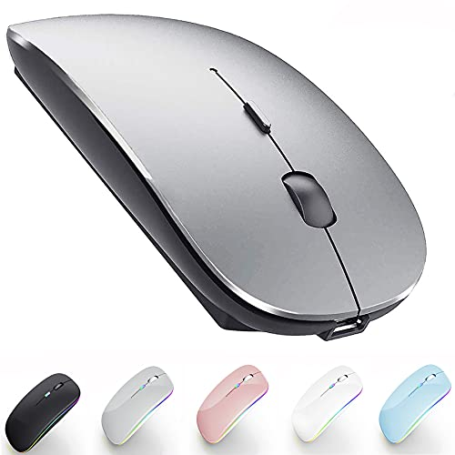 Rechargeable Bluetooth Mouse for Mac Laptop Bluetooth Mouse for MacBook Pro MacBook Air Chromebook MacBook iPad pro Air Mini Win8/10 HP DELL PC (Bluetooth Sliver Black)