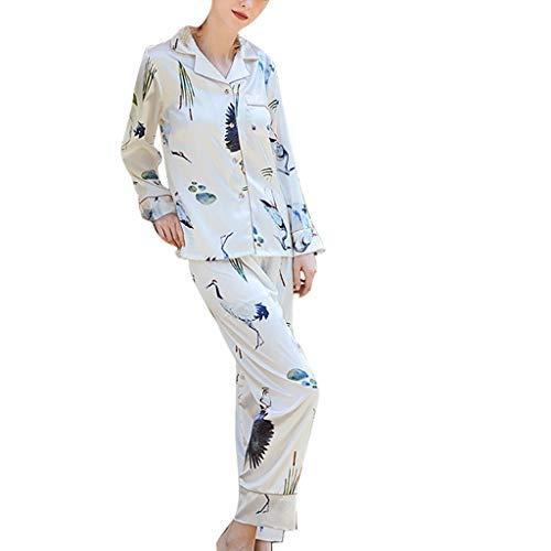 Luotuo Nachtwäsche Damen Nachahmung Seide Schlafanzug Anzug Drucken Satin Langarm Nachthemd Top + Lange Hosen, Super Weich Bequem Sleepwear Sets for Alle Jahreszeiten