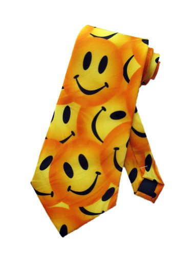 Steven Harris Mens Smiley Face Necktie - Yellow - One Size Neck Tie