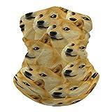 Mr Doge Meme Dog Neck Gaiter Summer Cooling Face Mask Headband Reusable, Seamless Face Cover Washable Bandana Scarf Sun Dust Protection Balaclava for Fishing Cycling