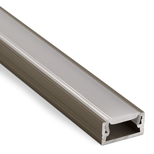 3 Stück LED Profil-11 Edelstahloptik 2000 x 14 x 7 mm mit klarer Abdeckung für LED Streifen Aluminiumprofil Stripes von SO-TECH®