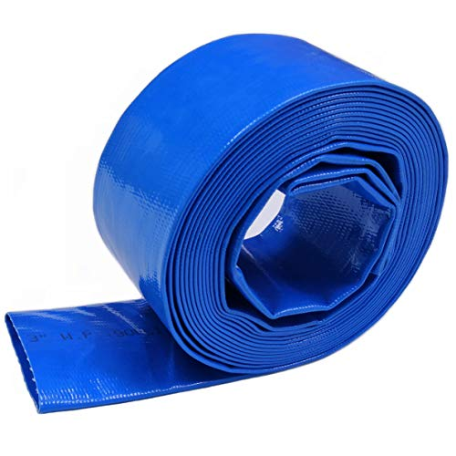 """3"""" Dia I.D. x 50' Blue Backwash Hose for Swimming Pools, Heavy Duty Discharge Hose Reinforced Pool Drain Hose, Draining Hoses Ideal for Water Transferring, 5 inch Width When Lay-Flat"""