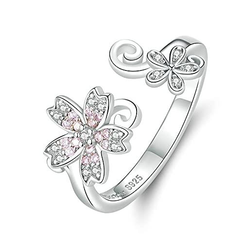 FGHNB Anillo de Compromiso 925 Anillos de Plata esterlina Rosa Sakura Flor de Cerezo Anillos de Dedo Ajustables Abiertos para Mujeres Joyería de Boda romántica